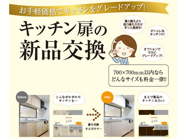 キッチン扉の新品交換